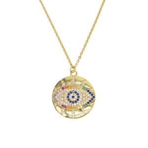 Boho 2019 модный золотой классический турецкий сглаз кулон ожерелье для девочки проложили крошечные великолепные радуги CZ шикарные женщины ювелирные подарки