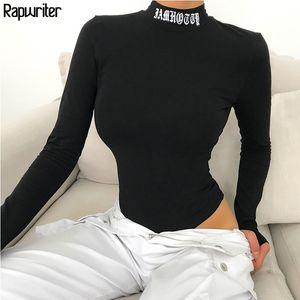 Rapwriter Sexy Backless Brief Stickerei Turtleneck Schwarz Bodysuits Frauen 2019 Herbst-Winter-lange Hülse Bodycon Fitness Bodysuit T200618