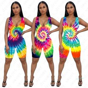 Mujeres Skinny Jumpsuits Pantalones cortos Moda Tie-dyed Ladies Summer Sexy Rompers Trajes femeninos 3D Imprimir sin mangas One-pieces Shorts D42205