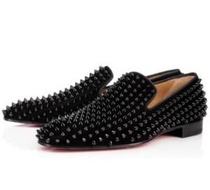 Elegance Red Bottom повседневная обувь Spikes Oxford Flat Slip On Высококачественные красные подошвы для прогулочных одуванчиков Квартиры на плоской подошве, бизнес, вечеринка, платье 10