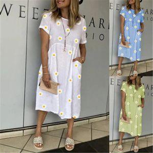 Designer Women New Dress Vintage Floral Print Loose Dress Summer Fashion Round Neck Petal Short Sleeve Dress Casual Party