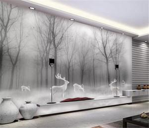 Wandbild Papier Nordic Forest Elk Zusammenfassung Woods Schwarz-Weiß-Landschaft Home Decor Wohnzimmer Wandverkleidung Wallpaper