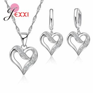 JEXXI благородных женщин свадьба юбилей ювелирные изделия подарки топ-рейтинг S90 серебро любовь Сердце ожерелье серьги колье наборы