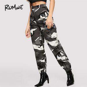 Klappen-Tasche Side Cami Utility-Hosen 2019 Camouflage Taschen mittlere Taillen-Hose-Frühlings-Herbst-Reißverschluss-beiläufige lange Hosen