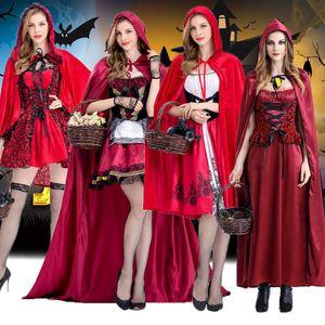 Costumes Cosplay pour les filles Femmes Halloween Noël Rôle Jouer Mauvais Petit Red Cap Robe Cape Long Châle Princesse Stage Wear Vêtements