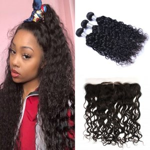 Water Wave Bundles with 13*4 Lace Frontal Free Part Indian Virgin Human Hair Weave 3 Bundles with Frontal