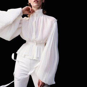 Johnature 2020 Spring New Volants Collier Lantren manches Femmes Débardeurs Blouses Mode en vrac Pleat femmes Chemises