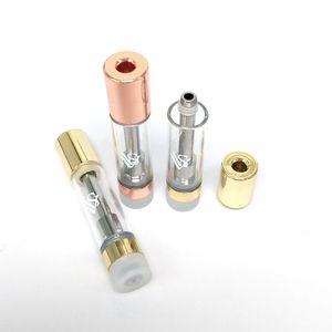 Pembe Altın Seramik Coil 0.8ml Vape Kartuşları VVS Kalın Yağ Kartuş Atomizer Cam Tankı Vape Kalem Tek Vaporizer Pen boşaltın