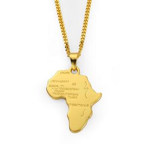 Jóias Rocha Hippie Mapa Africano pingente colar de ouro 18K prata corda longa cadeia colares Partido Presentes Boyfriend