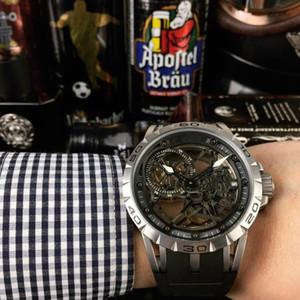 Excalibur série rei caixa de relógio de movimento automático da corrente moda masculina: 46 milímetros de safira carbono liga de titânio revestimento DLC preto