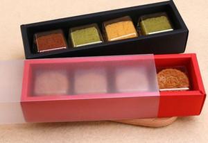 Buzlu Plastik Kapak Çekmece Tipi Mooncake Çerezler Bisküvi Kutusu Ambalaj ile 23 * 6.2 * 4.9cm Macaron kutular