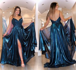 Dark Navy Split Evening Elegant Formal Dresses ogstuff Spaghetti V-neck Beads Crystals Open Back Prom Homecoming Dress Long Plus Size