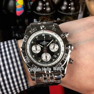Neue Luxus-44mm Chronograph AB011011.C788 Quartz Herrenuhr mit schwarzem Ziffernblatt Weiß Subdial Edelstahl-Armband-Sport-Uhren Hello_watch