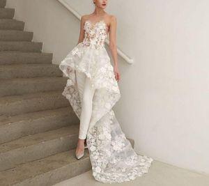 2019 Plus Size Boho uma linha Bohemian High Low Jumpsuits vestidos de noiva vestidos de noiva Abendkleider Vestido de Novia 3D Floral Appliques