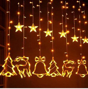 Elk Çan Dize Işık LED Noel Dekor Ev Asılı Çelenk Noel Ağacı Dekor Için Süs Navidad Noel Hediye Yeni Yıl