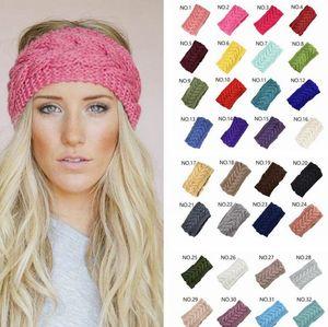 32colors Knit Haarband Art und Weise Häkelarbeit-Stirnband-Winter-warme Wolle Crochet Haarband Mädchen Kopftuch Schal Turban Bandanas GGA3613