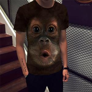 Tshirts Mürettebat Boyun Kazak Kısa Sleeve Erkek Yaz Kontrast Renk Giyim Erkek 3D Maymun Baskılı Designer Tops