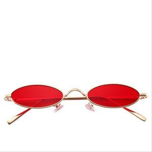 Kleine ovale Sonnenbrille Männer Frauen Retro Metallrahmen Gelb Rot Vintage Tiny Runde Männlich Weiblich Sonnenbrille