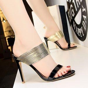 Black Gold Fashion argento da sposa scarpe sexy Open Toe pantofole dei sandali 100 millimetri di nozze di sera di promenade del partito di ballo tacchi alti per la sposa