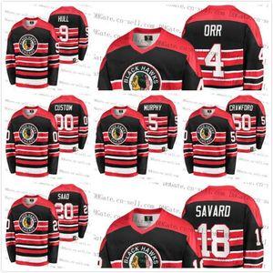 2020 Heritage Vintage Chicago Blackhawks personalizado Jersey Bobby Hull Orr Brandon Saad Connor Murphy Corey Crawford Denis Savard JOVENS MULHERES MEN