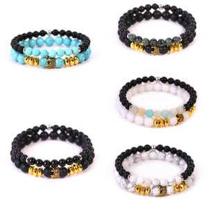 Crown Natural Stone Women's Barcelets Yoga Beads His and Hers Friendship Bangle for Women Men Jewelry Set