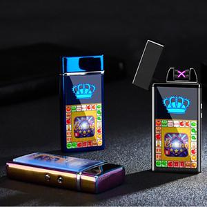 도매 전자 담배 라이터 방풍 더블 화재 크로스 트윈 아크 펄스 전기 아크 다채로운의 USB 충전 라이터 DBC DH0637-1