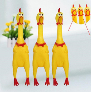 Scream The Chicken Children Toys Fun Rubber Yellow Pet Squeaky Chew Toy Decompression toys for party gift 40*9.5 LXL715A