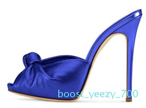 Women High Heel Knotted Mules 2018 Sexy Ladies Black Red Velvet Summer Shoes Peep Toe Sandals Party Evening Dress Heels Big Size b70