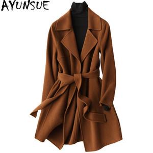 AYUNSUE 2019 Kış Ceket Kadınlar Sıcak Yün Ceket Kadın Sonbahar Uzun kadın Kaşmir Palto Moda Ceket Dış Giyim 37033 WYQ1175