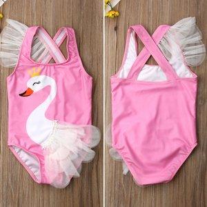 Emmababy малыш дети девочка купальники мультфильм Лебедь тюль прекрасный купальник бикини набор купальный костюм бикини