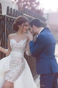 2019 New Arrival Sheer Strapless Long Sleeve Lace Short Wedding Dresses With Detachable Train Middle East Bride Bridal Gowns vestidos de
