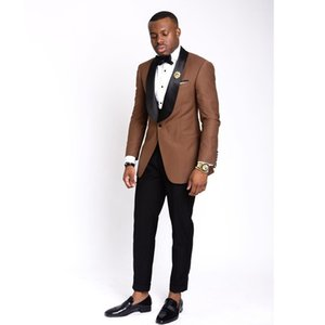 Chocolate Slim Fit Mens Prom Suits One Button Shawl Lapel Wedding Suits For Men Tuxedos Two Pieces Blazers Jacket+Pants