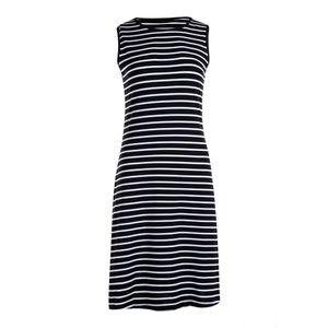 Casual Mulheres mangas vestido listrado Slim fina cintura alta A-line vestido longo US
