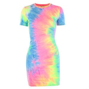 Frauen des europäische und amerikanische Art und Weise Kleid der Frauen neues beiläufige tie dye Mitte Länge Kleid im Herbst 2019 Amazon