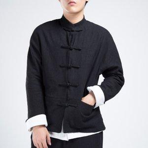 Nouveau Hommes Automne Style Chinois Coton Linge Manteau Lâche Kimono Cardigan Hommes Solide Couleur Lin En Plein Air Veste Manteaux M-4XL