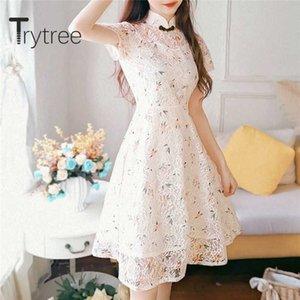 Trytree 2020 Mulher Verão Casual Vestido gola Imprimir Moda Vintage elegante cintura alta A-linha Mini Cheongsam Vestido