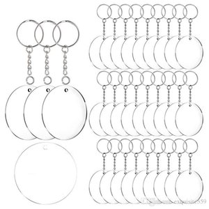 Acrylic Keychain Blanks, 60 Pcs 2 Inch Diameter Round Acrylic Clear Discs Circles with Metal Split Key Chain Rings