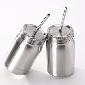 23 OZ Paslanmaz Çelik Mason kavanoz Mason bardak mason Kutular 1 katmanlı kapak ile 23 oz fincan saman Kahve bira suyu kupa can özel