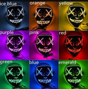 Halloween Mask LED Glowing Masks Light Up Party Masks Neon Maska Cosplay Mascara Horror Mascarillas Glow In Dark Masque V for Vendetta