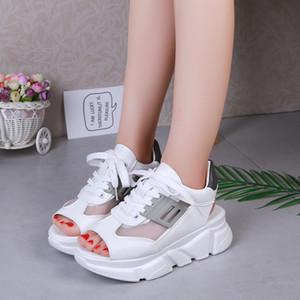 À talons hauts de femmes sandales 2019 été nouvelle dentelle femme avec muffins et bout ouvert sandales occasionnels maille chaussures femmes respirant