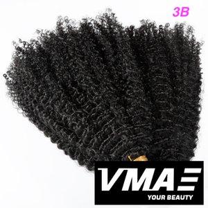 VMAE Malezyalı Arapsaçı Ücretsiz Remy Virgin Bant 3A 3B 3C Kinky Kıvırcık 100g Doğal Renk Tek Donör Gerçek İnsan Saç Uzantıları