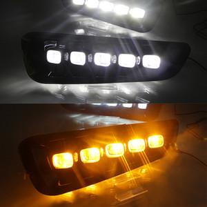 1 par DRL LED Luzes de Running Daytime com sinal de volta Lâmpada de névoa amarela para ford Raptor SVT F150 2016 2017 2018 2019