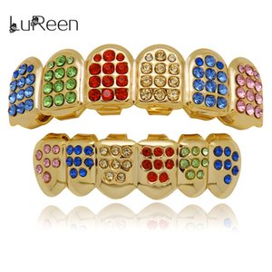 LuReen Colorful Teeth Grillz Top&Bottom CZ Grills Dental Hip Hop Vampire Teeth Caps Grill Mouth Body Jewelry Party