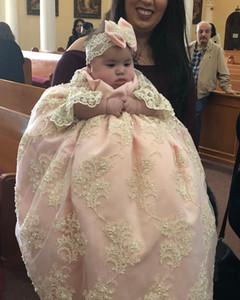 2019 Rose Robes de baptême pour bébé Filles dentelle Appliqued Perles Baptême Robes de Mariée avec Bonnet First Communion Saints Robes