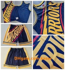 2020 ThrowbackGolden StateWarriorsJersey Just Don Shorts Big FaceMitchell Ness BlackNBA Vintage Basketball Jerseys