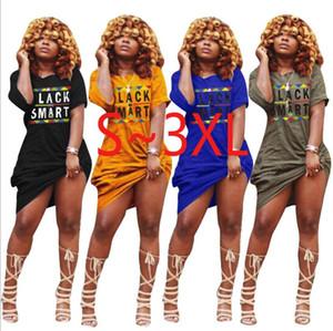 Vestidos con estampado de letras de mujer, manga corta, falda sexy delgada, cuello redondo, color sólido, vestido de talla grande, diseñador, ropa de verano, envío gratis 1207