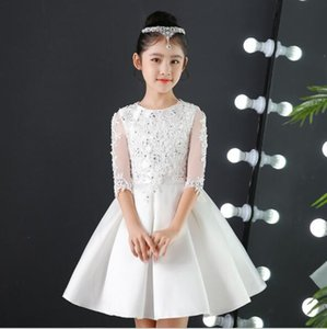2019 New Elegant Girl Wedding White / Red Lace Sequin Tulle Flower Girl Dress Party Princess Dress Birthday First Communion Dress