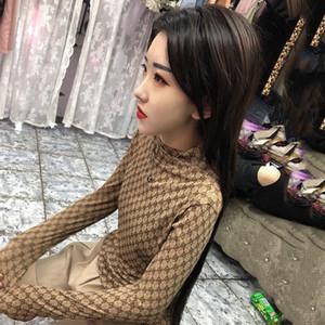 2020 Son Tasarım svetşört Kadınlar Web Ünlü Yüksek Yaka Mizaç Dantel Seksi İnce Uzun kollu