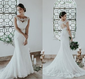 Lace Wedding Dresses Bohemian 2020 Cap Sleeves Bridal Gown Mermaid Scoope Neck Appliqued Sweep Train Robes De Mariee Backless Chic AL6221
