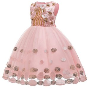 2020 new pearl girls dresses sequin kids dresses wedding princess dress girls dress formal dresses party dress teenage girls clothing B1074